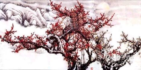 竹林梅花風景圖