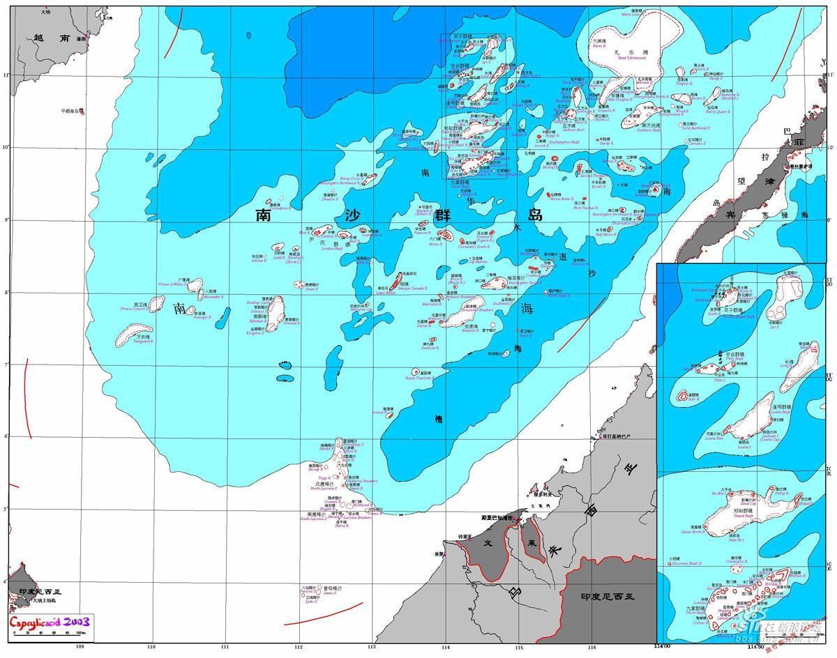 南沙群岛岛礁地图