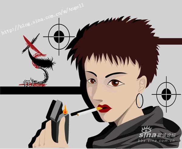 伤感卡通女生抽烟