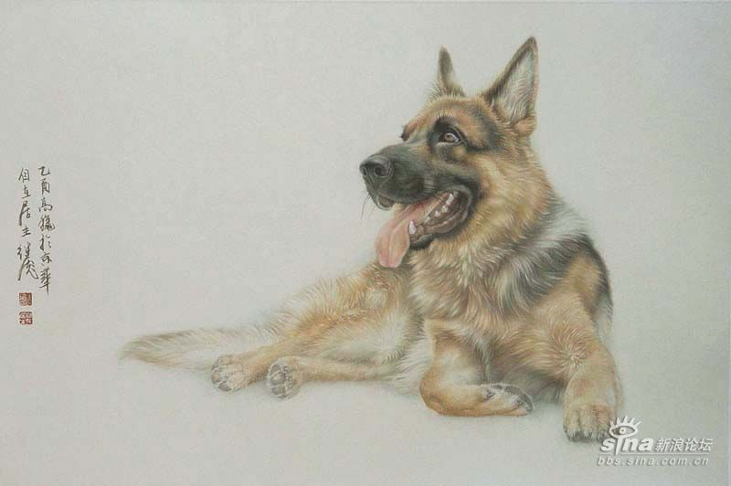 刘继彪工笔画中的小狗狗