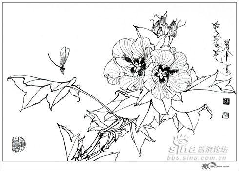 花卉造型的艺术规律 即用毛笔