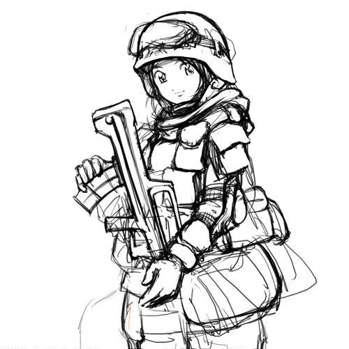 向国旗敬礼简笔画动漫-解放军卡通MM女特种兵图集