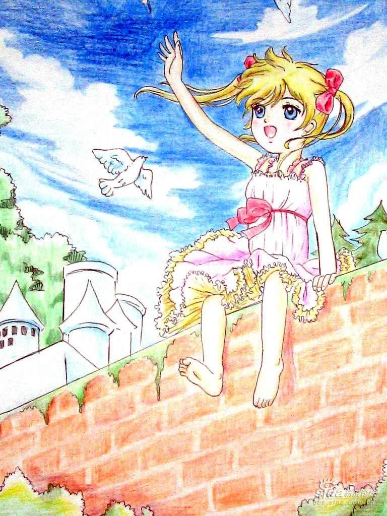 [彩色铅笔画 ]围墙上的女孩