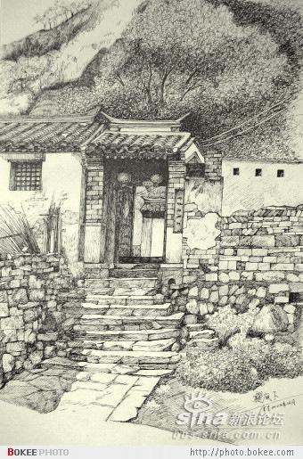 钢笔画各类建筑风格的老式民居