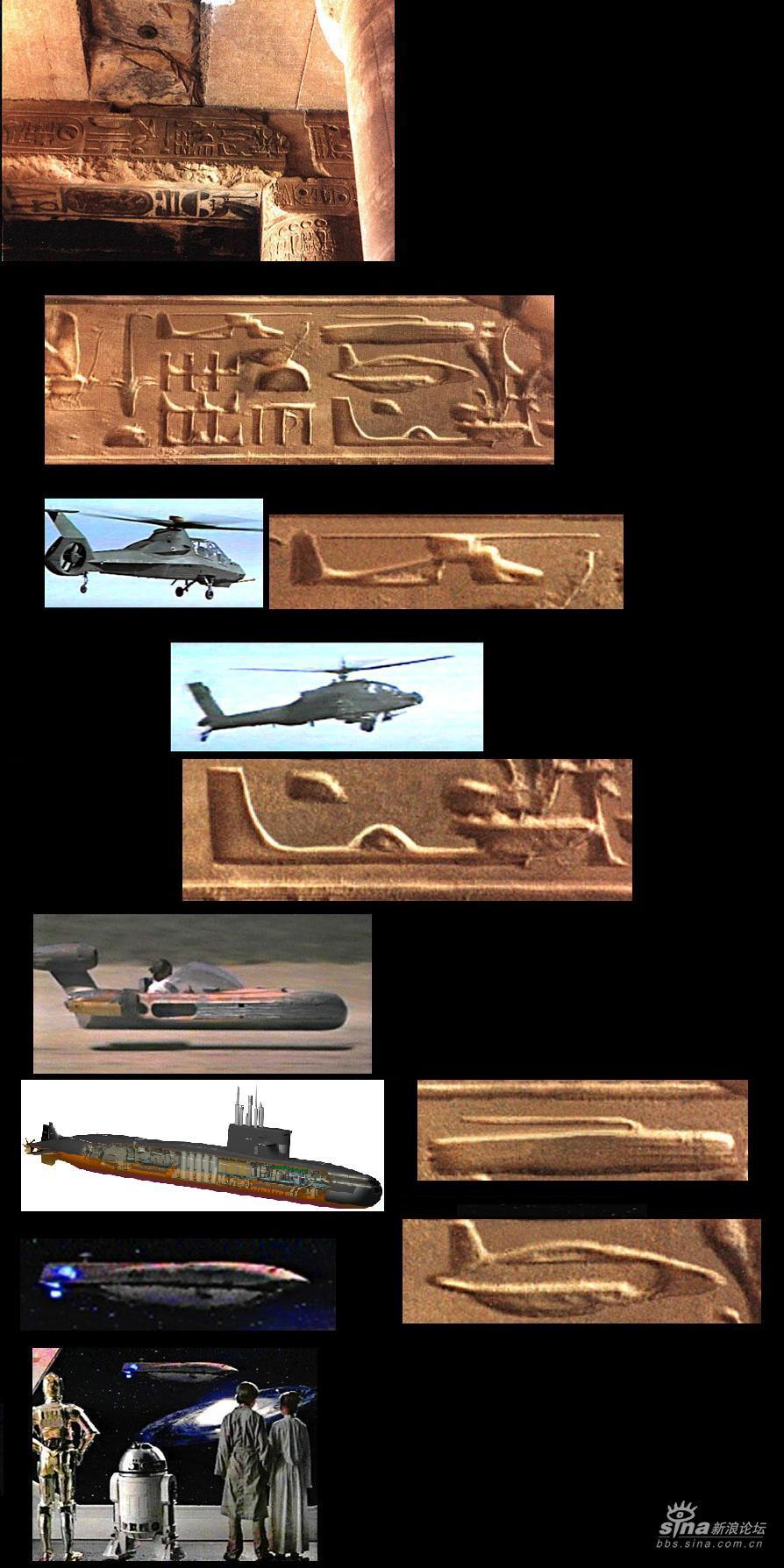"""确信古埃及艺术家描绘的""""直升机""""或""""飞机""""都是真实的."""